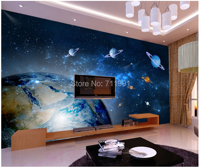 Buy custom universe earth for the living for Universe wallpaper for bedroom