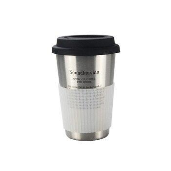 Sikè - Bicchieri in acciaio inossidabile da 500 ml con coperchio in silicone