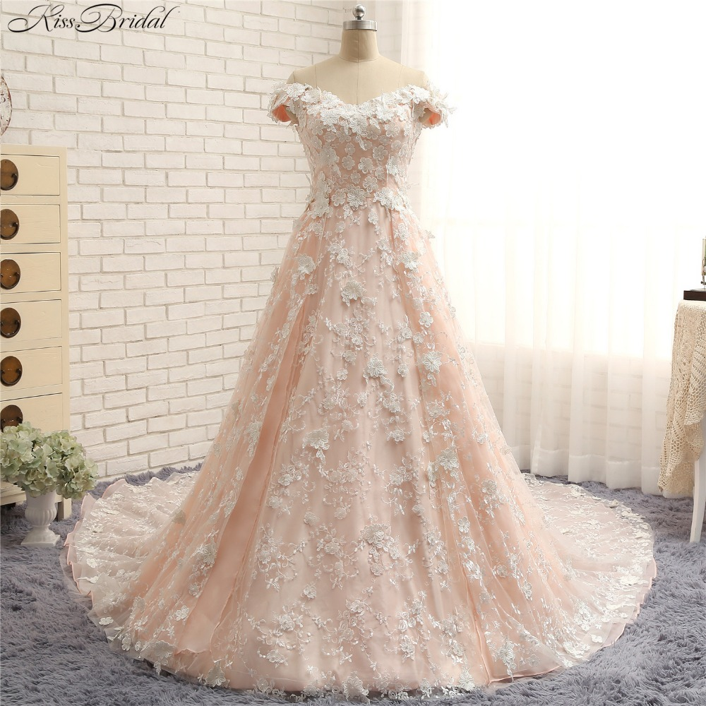 Buy gorgeous a line wedding dresses 2018 for Rose pink wedding dress
