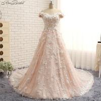 Gorgeous A line Wedding Dresses 2018 Off the Shoulder Vintage Lace Bride Dress Rose Pink vestido de noiva vintage