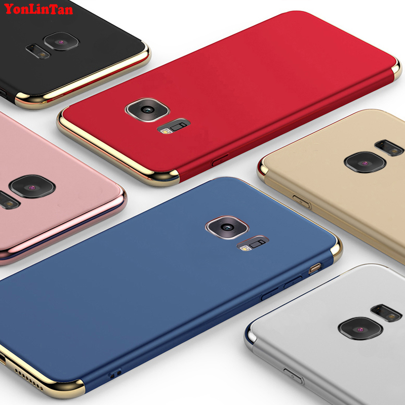 YonLinTan Coque,Case,cover For Samsung Galaxy s7 edge s7edge Original Luxury Plating 3in1 hard Plastic Phone Protective Cases