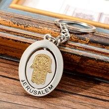 Israel Style Jerusalem Key Chain The Hamasa Hand Keychain Keyring For Men Women Zinc Alloy Key Ring For Key цена