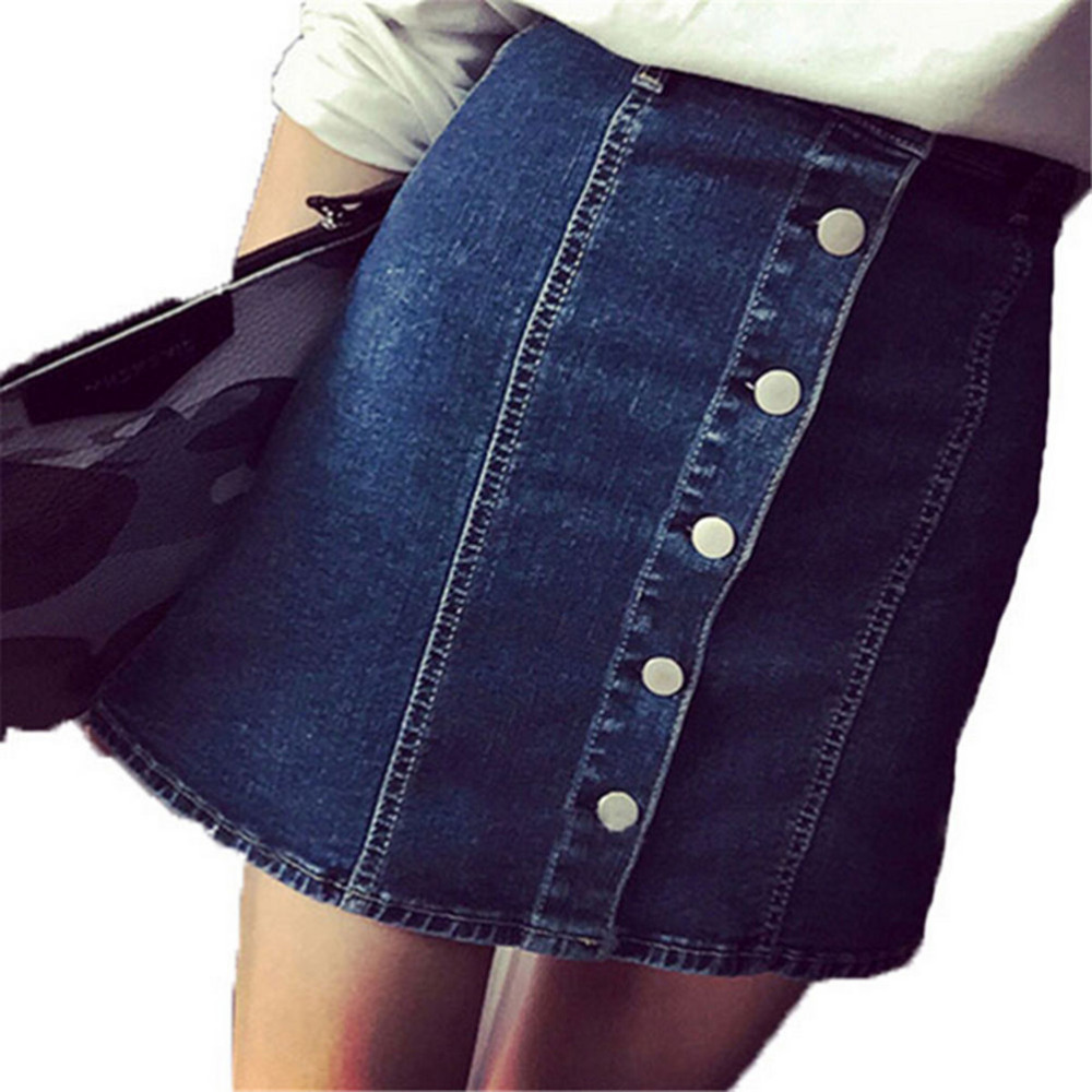 New Summer Arrival Women Denim Skirts Front Button Package Skirt Women Pencil Jeans Skirt