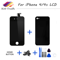 Hot-Truth 1Pcs For iPhone 4 LCD Display For iPhone 4s Screen Digitizer Assembly With Back Cover Housing/Home Button/Tools/Screws