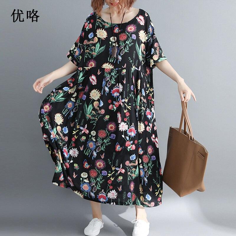 New Arrival 2019 Summer Fashion Plus Size Dress 4xl 5xl 6xl 7xl 8xl Women Floral Printed Big Swing Dress Size Loose Long Dresses(China)