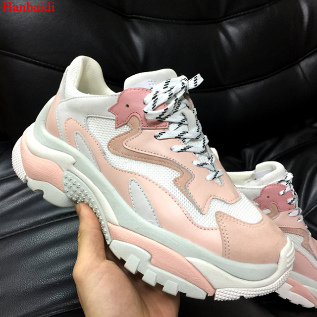 75f6ea4834d Hanbaidi Pink Real Leather And Suede Women Sneakers Mixde Colors Women Platforms  Shoes Brand Designer Lace Up Trainers Woman