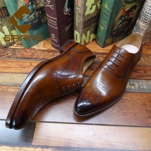 Роскошная обувь для мужчин sipriks заказ мужские ручной работы обшитая обувь импортная натуральная кожа темно-коричневая обувь с перфорацией типа «броги», полуботинки, платье, обувь бизнес мужские