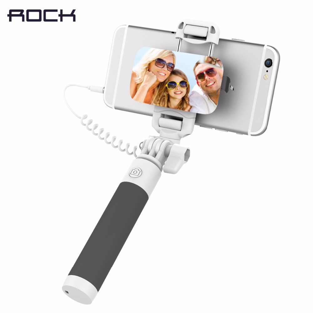 ROCK Mini Wired Selfie Stick con 3,5mm Audio Cable Monopod plegable extensible Handheld Shutter para iphone 6 IOS Android