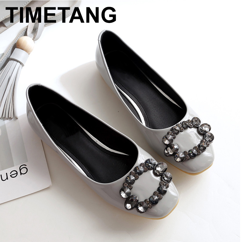 TIMETANG New autumn 2018 fashion diamond Square head Coat of paint Flat shoes PU leather relaxation the bottom Single shoes C127 smc the new head of passing filter aff150a 40