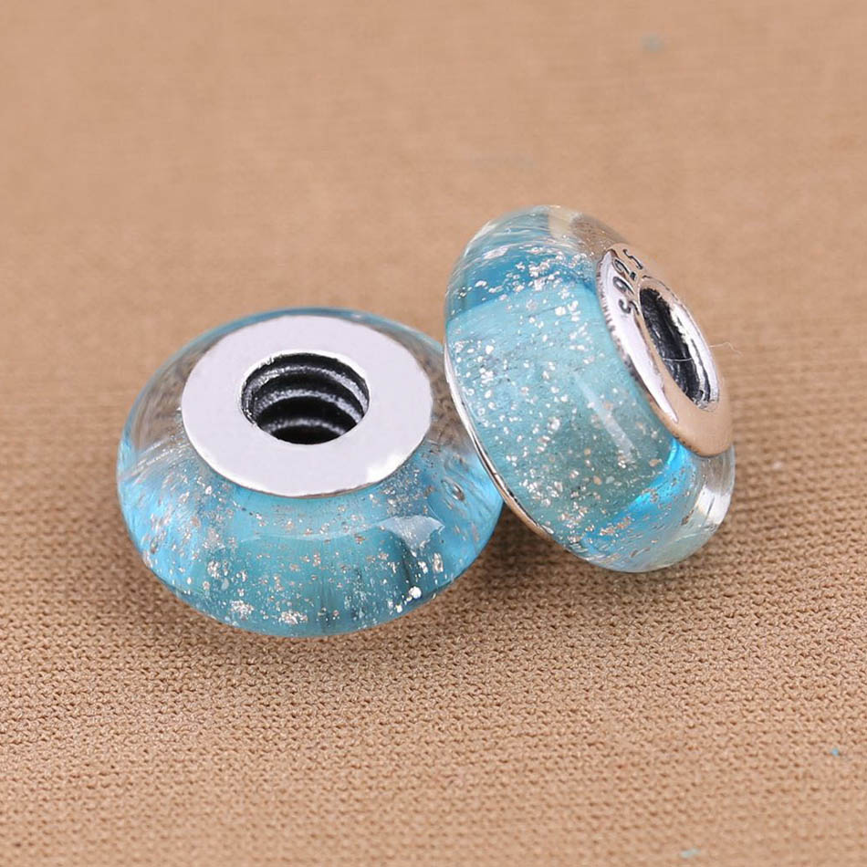 25mm Grey silver foil lined round puff glass coin lampwork jewellery beads