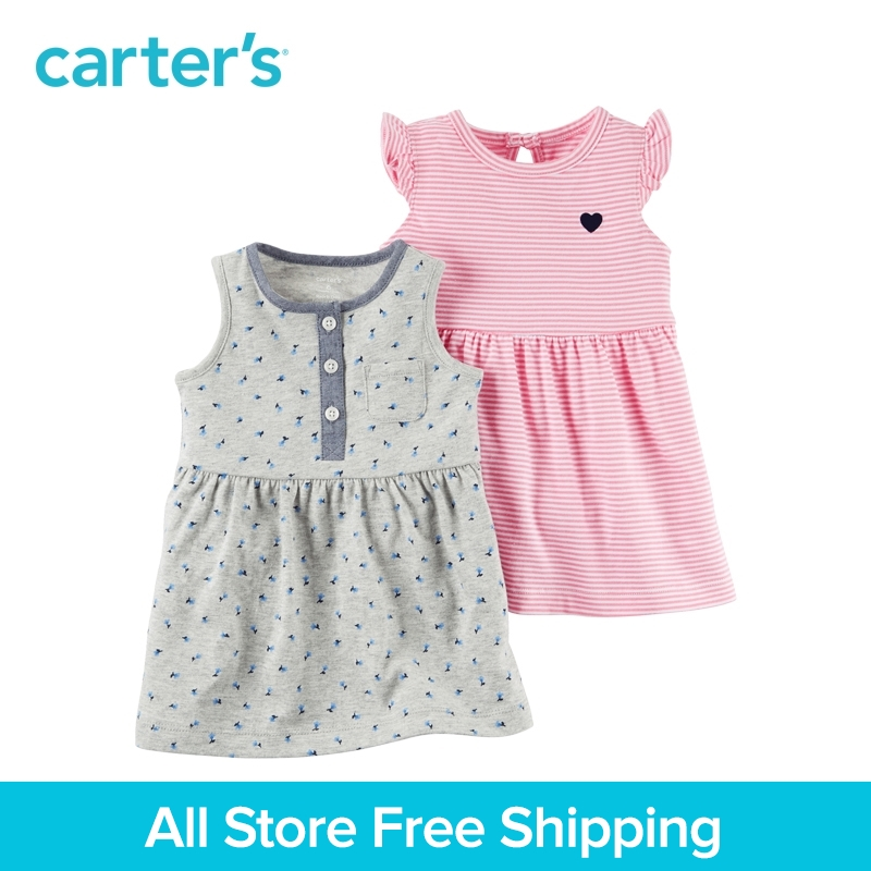 Carter's 2pcs baby children kids 2-Pack Dress Set 121H434,sold by Carter's China official store carter s 1 pcs baby children kids long sleeve embroidered lace tee 253g688 sold by carter s china official store