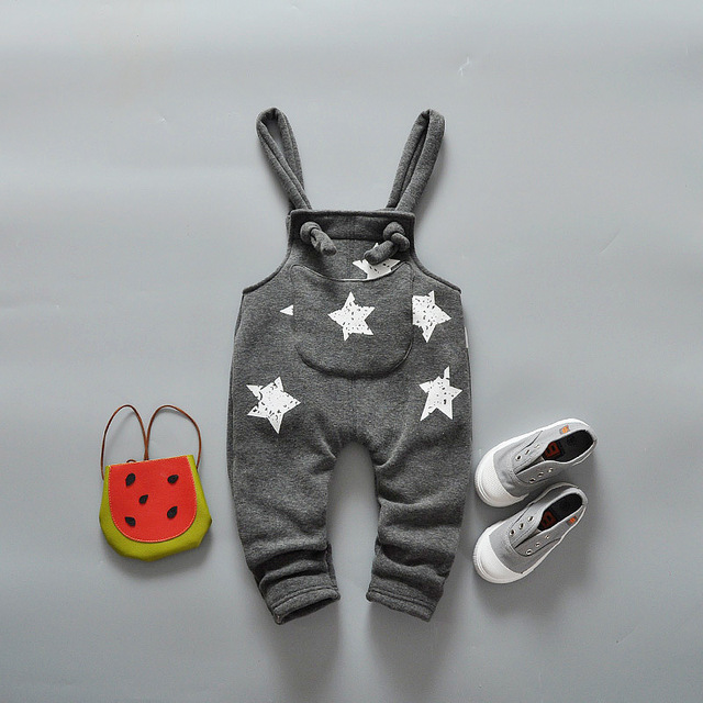KIDS Infant Pants Children Baby Autumn Fashion Overalls Cotton Stars Suspender Trousers Boy and Girl Children Pants Clothes