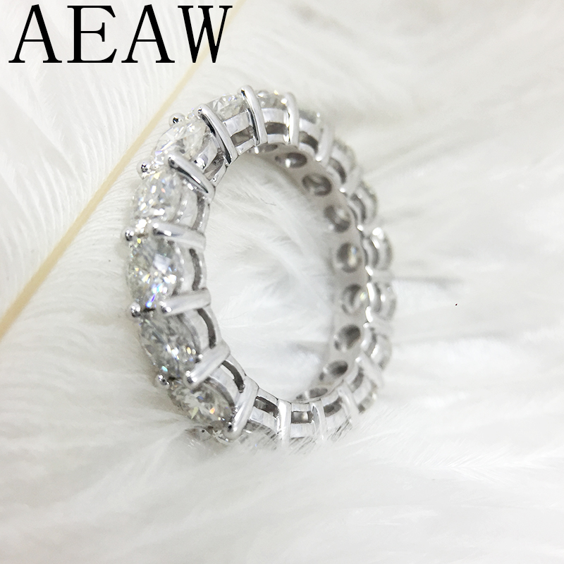 AEAW 14K 585 สีขาวทอง 4 มม.5ctw F สีหมั้นแหวน Moissanite Full Enternity เพชรสำหรับสตรี-ใน ห่วง จาก อัญมณีและเครื่องประดับ บน   3