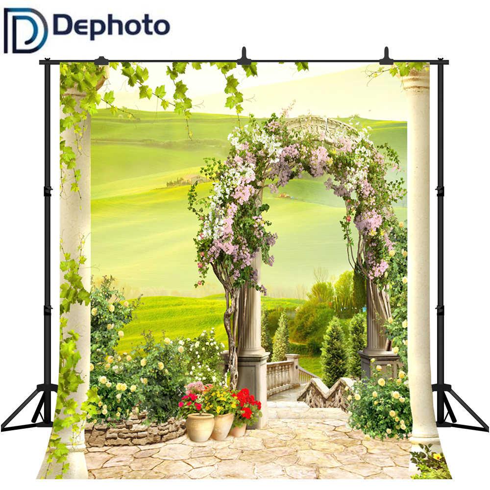 Фотостудия Весна цветы мечта сад Арка живописные фотографии фоны Виниловые Свадебные фотографические фоны для фотостудии