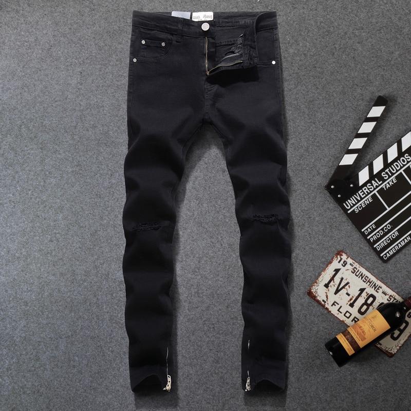 Fashion Streetwear Men Jeans Elastic Ankle Zipper Hip Hop Pants Hombre Black Color Ripped Jeans For Men DSEL Skinny Jeans Homme