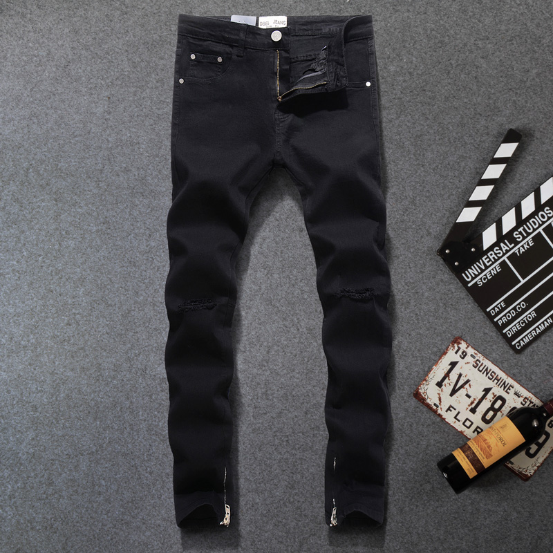 Fashion Streetwear Mens Jeans Elastic Slim Fit Ankle Zipper Hip Hop Jeans Black Color Punk Pants Frayed Hole Ripped Jeans Homme