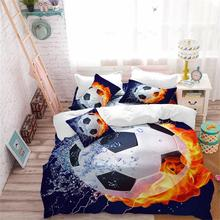 3Pcs 3D Fire Football Bedding Set Sports Design Duvet Cover Set Football Stadium Print Bedding King Queen Pillowcase Quilt Cover panda bedding duvet cover set digital print 3pcs