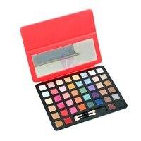 ISMINE 48 Natural Color Shimmer Matte Eyeshadow Palette Mỹ Phẩm Kit Trang Điểm Đặt Chuyên Nghiệp PU Cover + Gương 3 Màu Gói