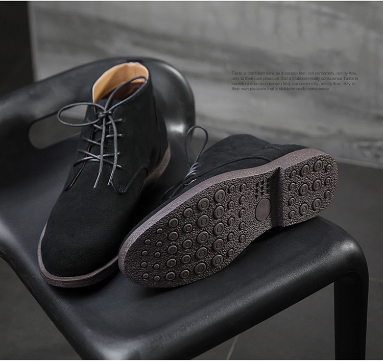 Men Fashion Suede Leather Ankle Boots Male Lace Up Martin Boots Men Classic High-top Footwear