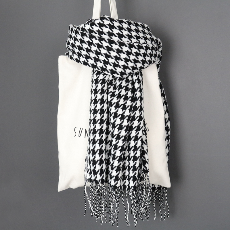 Image 3 - women winter thick fashion soft warm lady cashmere white and black long houndstooth scarf with tassel-in Women's Scarves from Apparel Accessories
