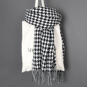 Image 4 - women winter thick fashion soft warm lady cashmere white and black long houndstooth scarf with tassel