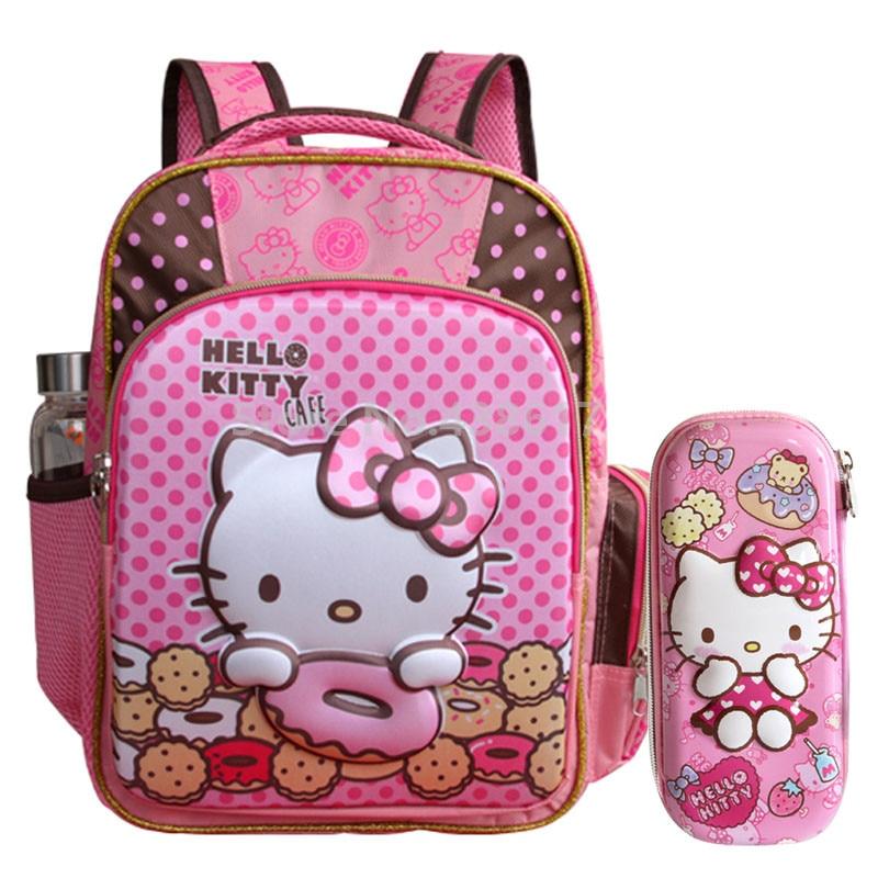 3D Hello Kitty Pink Girls School Bag With Pencil Case Set For Kids Children  Kindergarten Preschool 83f3b6f2f2041