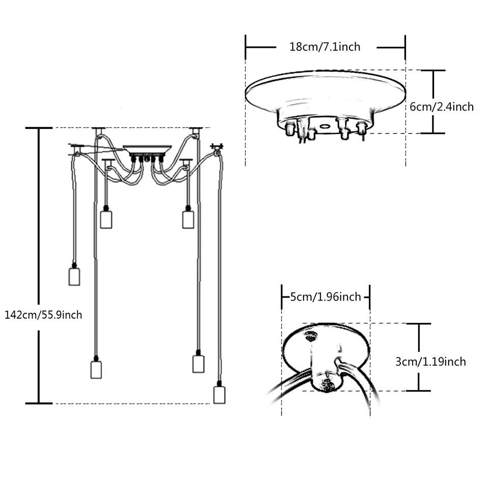 Vintage Multiple Adjustable Wire Diy Ceiling Spider Pendant Lighting Wiring Light Diagram 12 14 Heads With E27 Lamp Holder For Home Bar Hotel In Lights From