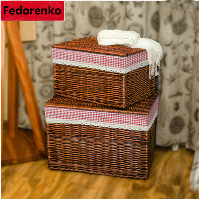 Xxl Handwoven Household Wicker Storage Basket With Lid Large Laundry