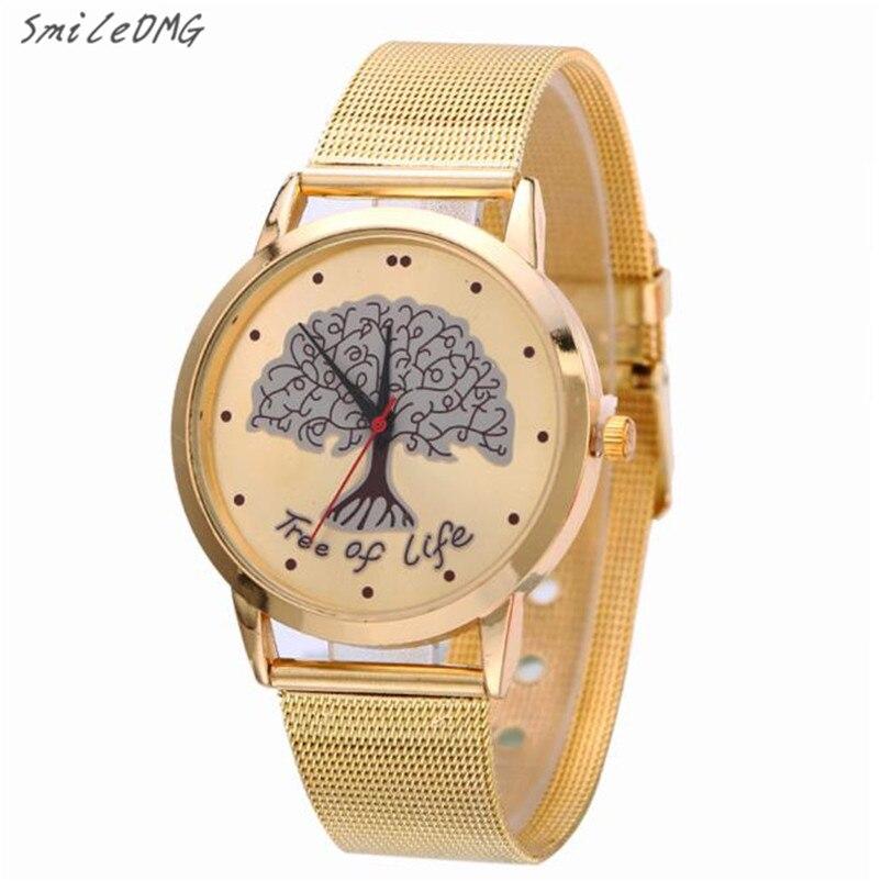 Reloj análogo del reloj del cuarzo del acero inoxidable del oro de las  mujeres envío libre 1b49e31dd9b