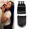 Peruvian Full Lace Frontal Closure With Bundles Peruvian Virgin Straight Hair With Closure Ear to Ear Lace Frontal With Bundles