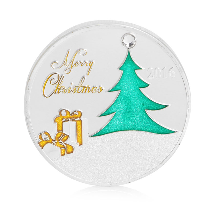 gold silver plated christmas gift greetings commemorative coin santa christmas art collectible navidad christmas decoration in non currency coins from home - Silver Plated Christmas Tree Decorations