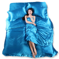 Wholesale Silk Sheets China Silk Bedspreads Bed Linen Cotton 4pcs of Blue Silk Duvet Cover Sets Bedsheet Pillowcase Freeshipping