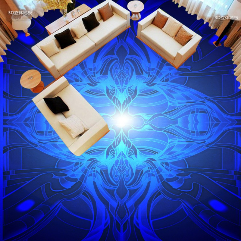Free shipping custom vintage floor bathroom living room wallpaper thickened mural European blue pattern 3D floor painting цена 2017