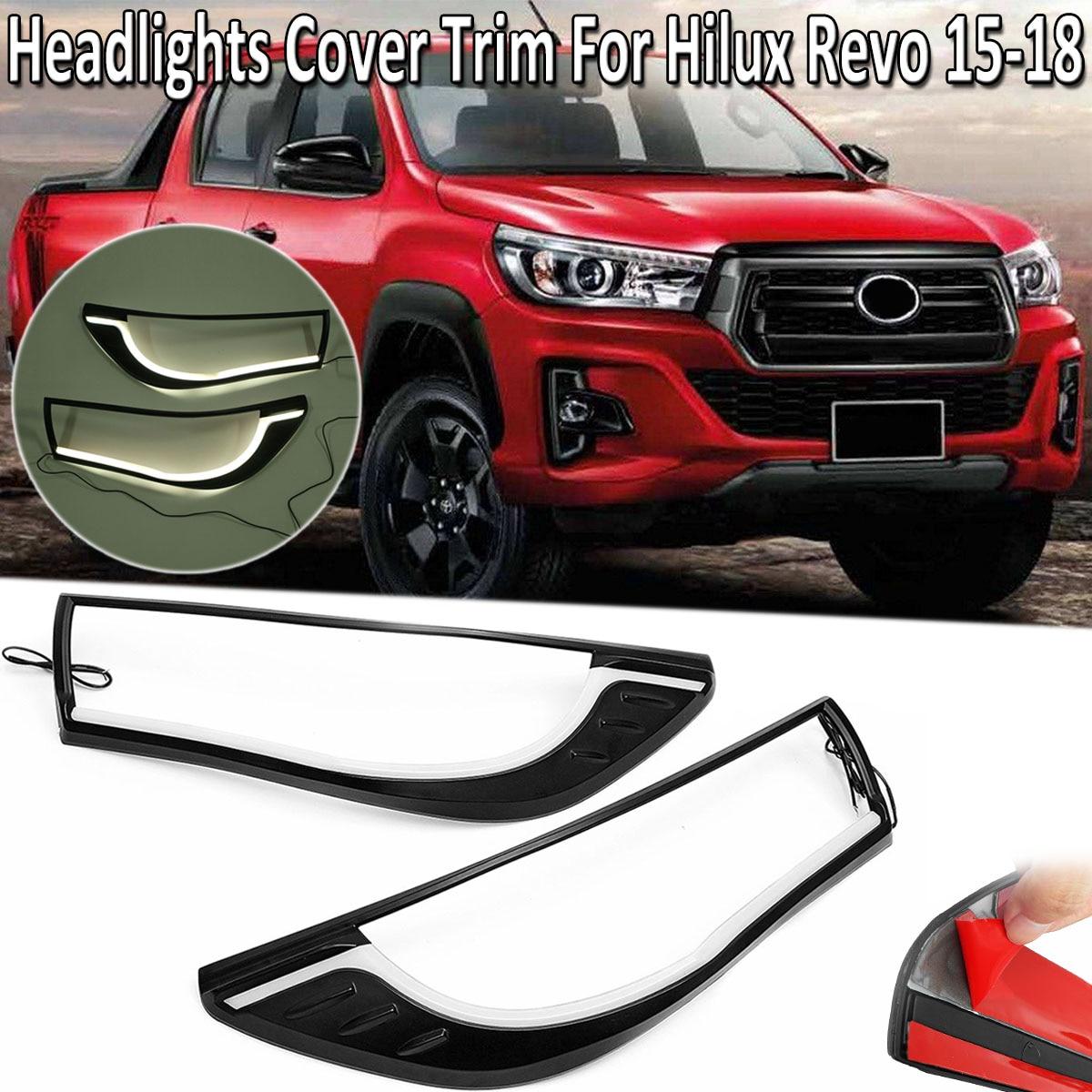 Светодиодный передние фары Крышка лампы Накладка оболочки для Toyota Hilux Revo 2015-2018 аксессуары наружные части