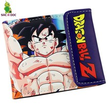 Mens Womens Pu Leather Wallet Anime Dragon Ball Super Saiyan Son Goku Slim Short Wallets Purses Card Holder Hasp Money Bag