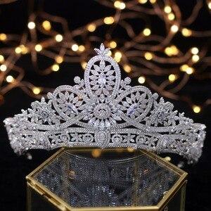 Image 2 - Splendido Da Sposa Corona Zircone Diademi di Cerimonia Nuziale di Cristallo Della Principessa Corone Wedding Accessori Per Capelli coroa de noiva