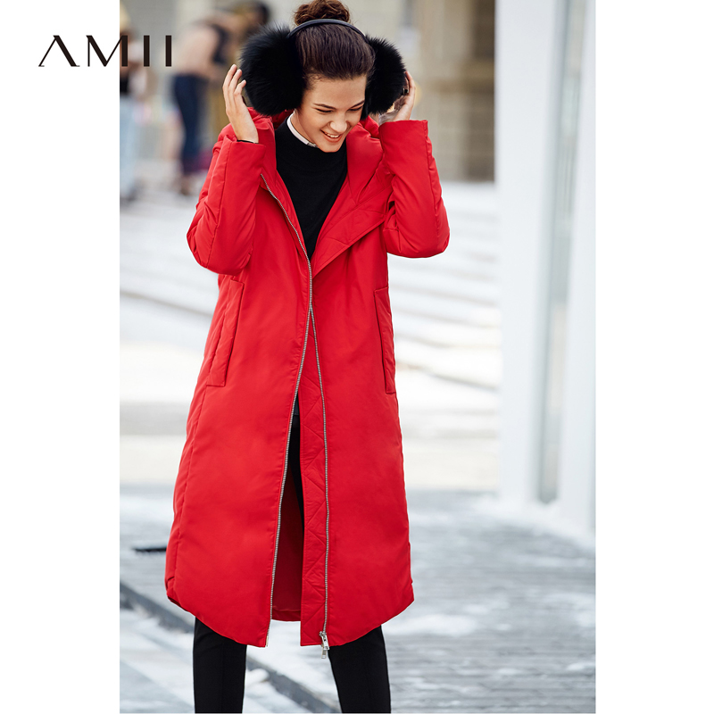 Amii Minimalist Women 2018 Winter Knee Length Straight 90% White Duck   Down     Coat   Hoodie Pocket Jacket   Coats