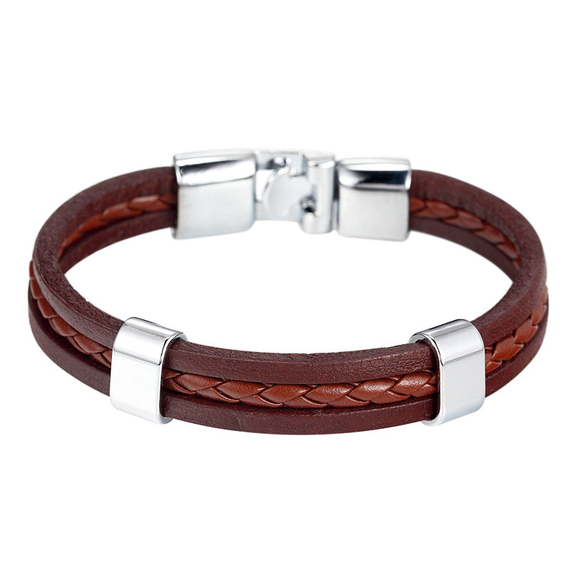 Endless August 2017 Hot Sale Trendy Menn Kvinner Armbånd Black Coffee Braid Leather Rustfritt Stål Armbånd Tilbehør gaver