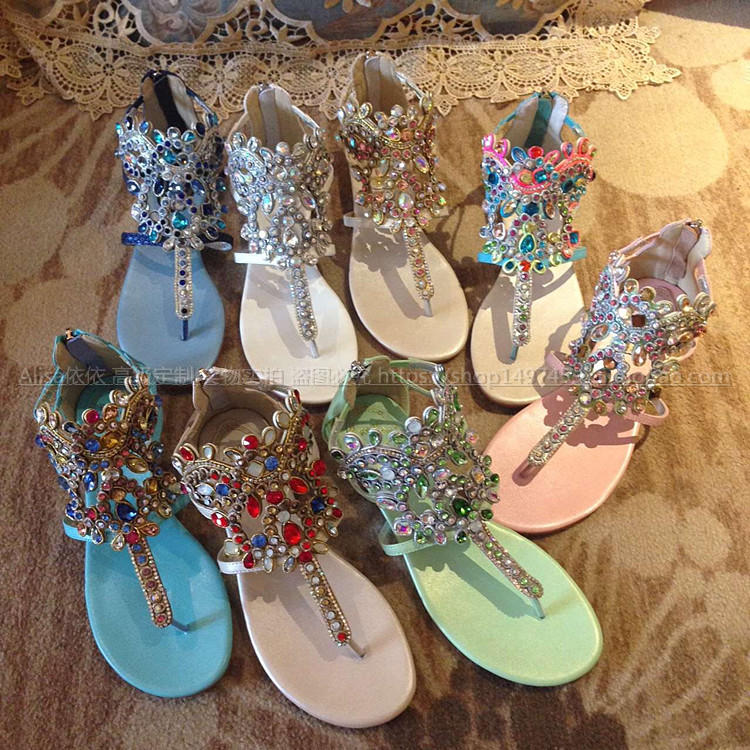 3a48020e655dc1 Crystal Embellished Metallic Wedge Sandals Flip Flops Gladiator Sandals  Women Shoes Flats Bohemia Summer Style Sandalias Mujer-in Women s Sandals  from Shoes ...