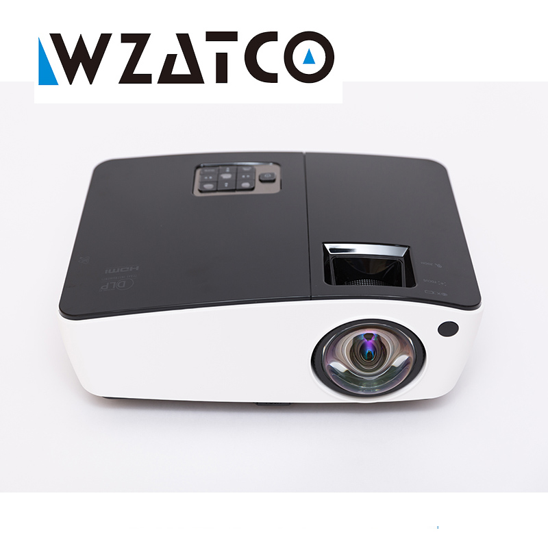 все цены на WZATCO Short throw Daylight Portable Education Overhead DLP Projector 6000lumens HDMI Full HD 1080p Shuter 3D Video projectors онлайн