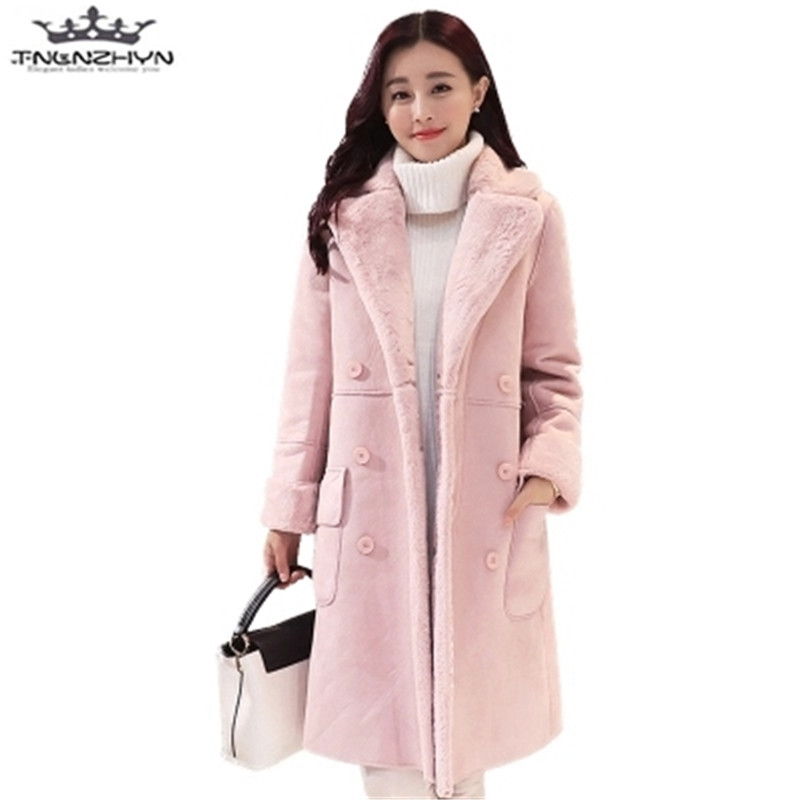 tnlnzhyn 2017 New Winter Women Coats Thick Suede Lambs Wool Coat Female Warm Cotton Jacket Fashion Slim Parkas Y547