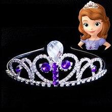 Принцесса Софии для девочек волосы для маленьких девочек корона на день рождения Дети День рождения украшения фиолетовый
