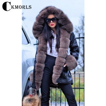 CKMORLS 100% Real Fur Parkas Winter Black Fur Jacket With Natural Fox Fur Collar Outwear For Women Long Coats Casual Fashion Top