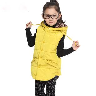 Chegada nova roupa das crianças menina do inverno lazer pute cor colete com capuz espessamento colete frete grátis