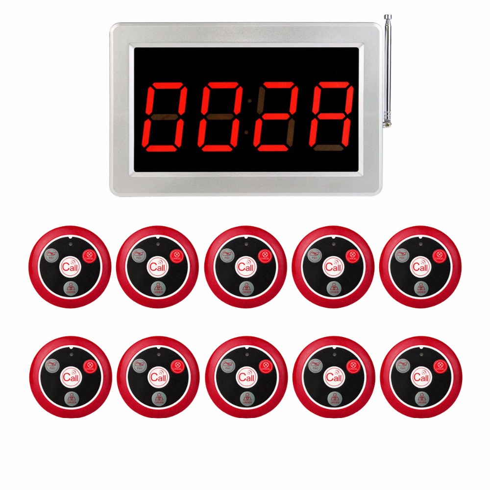 999 Channel RF Pager Wireless Calling Paging System 1 Receiver Display Host +10pcs Call Button for Restaurant Guest Call F3285 wireless table call system monitor bell buzzer used in the cafe bar restaurant 433 92mhz 2 display 1 watch 18 call button