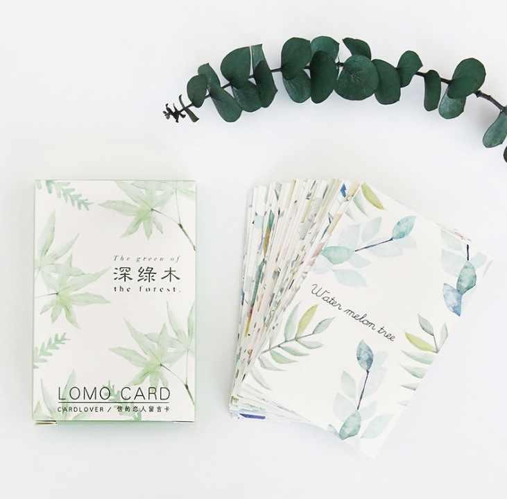 52 มม.* 80 มม.ต้นไม้สีเขียวกระดาษการ์ดอวยพรการ์ด lomo (1pack = 28 ชิ้น)