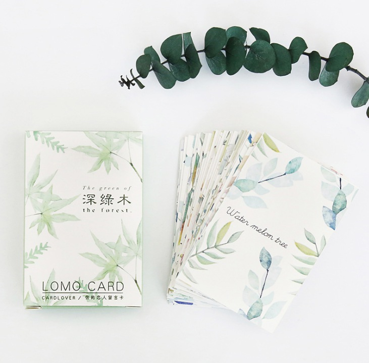 52mm*80mm Green Tree Paper Greeting Card Lomo Card(1pack=28pieces)