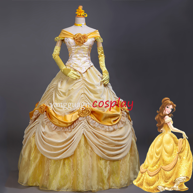 Princess belle dress beauty and the beast Belle Dress Adult Dress yellow  Party Gown dress