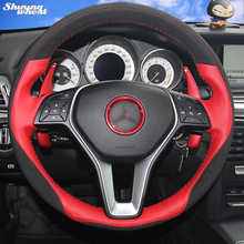 Shining wheat Hand-stitched Black Suede Red Leather Car Steering Wheel Cover for Mercedes Benz B180 2012