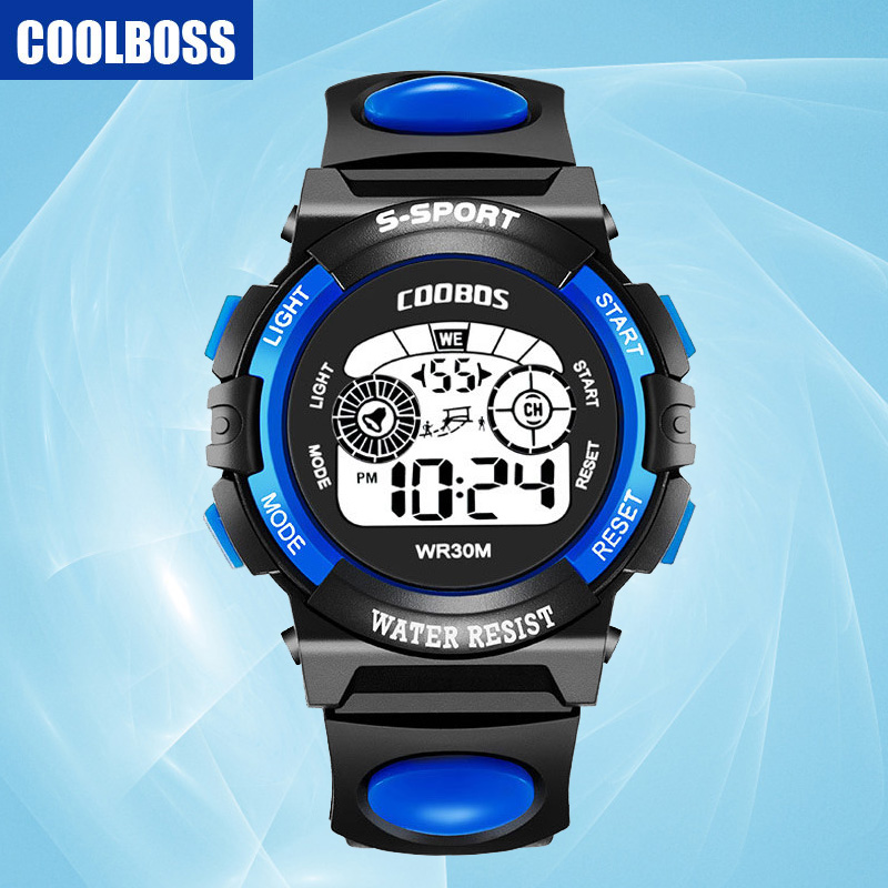 COOLBOSS Brand 2018 New Sport Children Watch Kids Watches Gift For Boys Girl Clock Child Electronic LED Digital Wristwatch Black